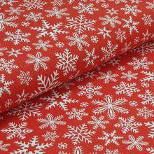 Bavlnené plátno červené, biele vločky, š.160