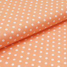 Bavlněné plátno meruňkové, bílé puntíky, š.140