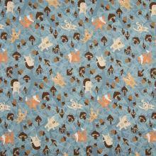 Úplet modrý, zvieratká v jesennom lese, š.145