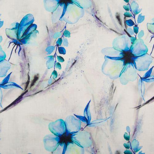 Ľan biely, aqua kvety a listy, š.135
