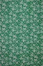Úplet zelený, bílé květy, š.150
