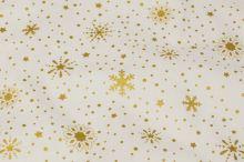 Bavlnené vianočné plátno, zlaté vločky, š.145