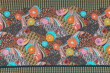 Úplet čierny, farebný kvetinový vzor š.145
