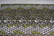 Úplet hnedobiely, zelený vzor, š.150