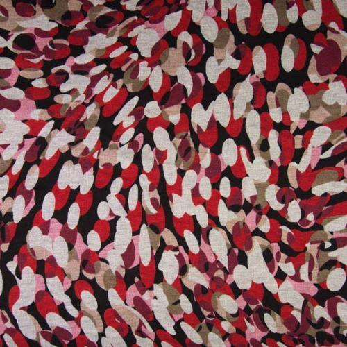 Úplet PUNTO PRINT, růžovo-červené ovály, 240g/m, š.150