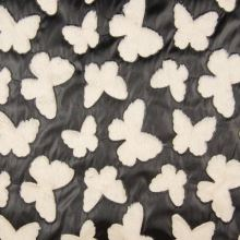 Koženka černá, krémový plyšový motýl, š.130/140