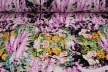 Úplet ružový 15779, farebný kvetinový vzor, š.145