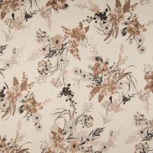 Úplet SCUBA VELVET béžový, kvetinový vzor, š.145