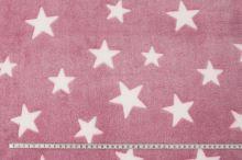 Fleece růžový, bílé hvězdy, š.145
