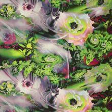 Satén zelený, velké květy, š.145