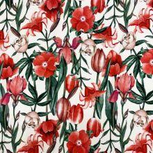 Úplet krémový, veľké červené kvety, š.175