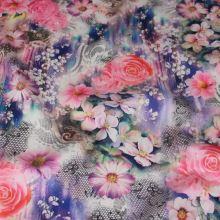 Satén farebný 16708, kvety, š.145