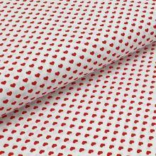 Bavlnené plátno biele, červené srdiečka, š.140