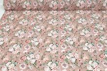 Šatovka SILKY béžová, růžovobílé květy, š.145