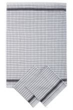 Utěrky žakárové extra savé, bílo-černá kostka, 50x70cm, 3ks