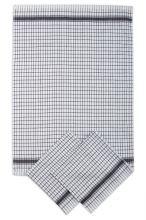 Utierky žakárové extra savé, bielo-čierna kocka, 50x70cm, 3ks