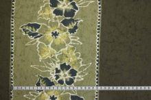 Bavlna khaki, bordura žlutý květ, š.150