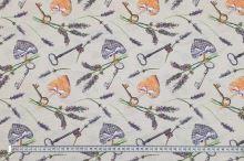 Dekoračná látka levanduľa, kľúče, srdiečka, š.140