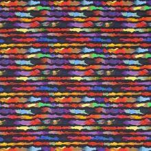 Bavlna černá, pestrobarevný vzor, pruhy, š.145
