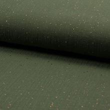 Mušelín khaki, zlatý hviezdny prach, š.140