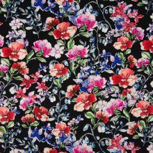 Šatovka černá, barevný květinový vzor, š.140
