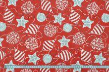 Bavlněné plátno červené, vánoční ozdoby, š.160