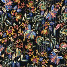 Šatovka čierna, kašmírové kvety, zlatý lurexový prúžok, š.135