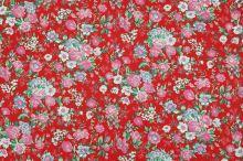 Bavlněné plátno červené, květinový vzor, š.140