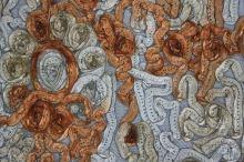 Čipka našívaná, zlatorezavá, š.145
