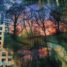 Úplet barevný, stromy a domy, š.155