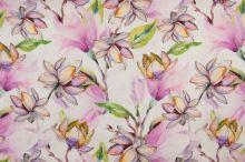 Len bílý, barevné magnóliové květy, š.135