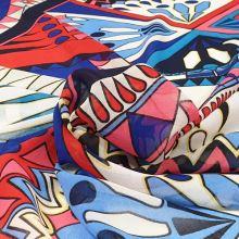 Šifon barevný, červeno-modrý vzor, š.145