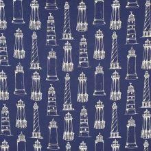 Dekoračná látka modrá, biele majáky, š.140