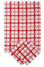 Utěrky z egyptské bavlny, moderní červené káro, 50x70cm, 3ks