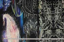 Úplet vzorovaný, modro-černý vzor, š.155
