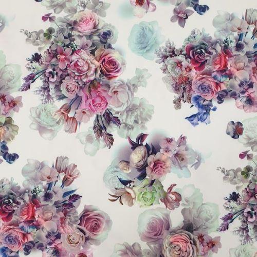Šatovka bílá, pestrý květinový vzor, š.150