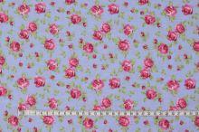 Dekorační látka modrá, růžové růžičky, š.140