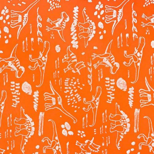Softshell neónovo oranžový, reflexné dinosaury, š.145