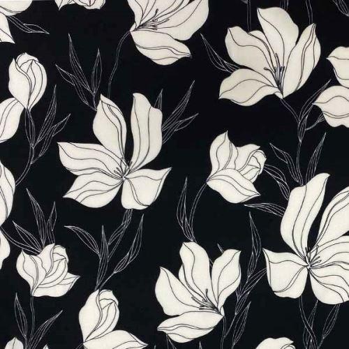 Šatovka 21505 černá, bílé květy, š.145