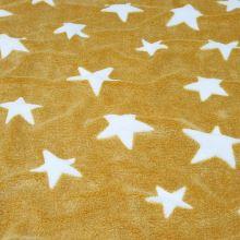 Fleece žltý, biele hviezdy, š.150