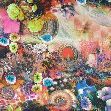 Satén barevný s motivem květin, š.145