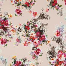 Kostýmovka púdrová, farebné kvety, š.145