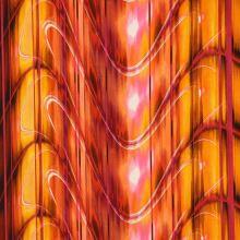 Satén oranžovo-červený, vlny, š.145