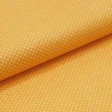 Bavlnené plátno žlté, biele drobné bodky, š.140