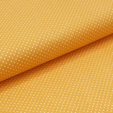 Bavlněné plátno žluté, bílé drobné puntíky, š.140