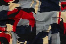 Úplet barevný 15362, šedo-červený vzor, š.145