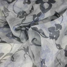 Hedvábný šifon šedý, květinový vzor, š.140
