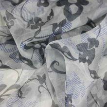 Hodvábny šifón šedý, kvetinový vzor, š.140