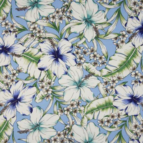Šatovka 21646 modrá, barevné ibiškové květy, š.140