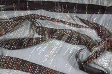 Hedvábný šifon hnědý, barevný puntík, š.130